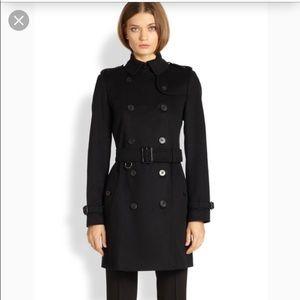 Burberry wool blend black 3/4 length pea coat 8